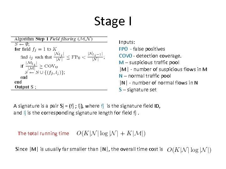 Stage I Inputs: FP 0 - false positives COV 0 - detection coverage. M