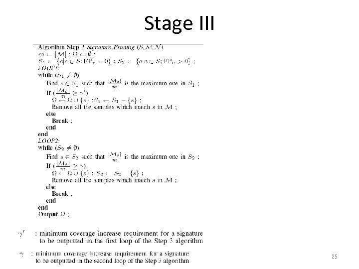 Stage III 25
