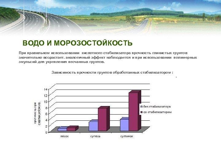 ВОДО И МОРОЗОСТОЙКОСТЬ При правильном использовании кислотного стабилизатора прочность глинистых грунтов значительно возрастает. аналогичный