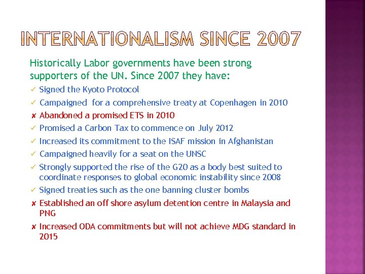 Historically Labor governments have been strong supporters of the UN. Since 2007 they have:
