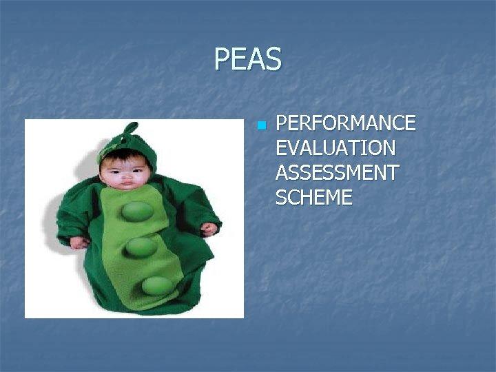 PEAS n PERFORMANCE EVALUATION ASSESSMENT SCHEME
