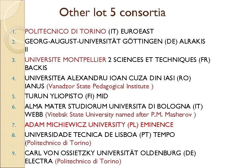 Other lot 5 consortia 1. 2. 3. 4. 5. 6. 7. 8. 9. POLITECNICO