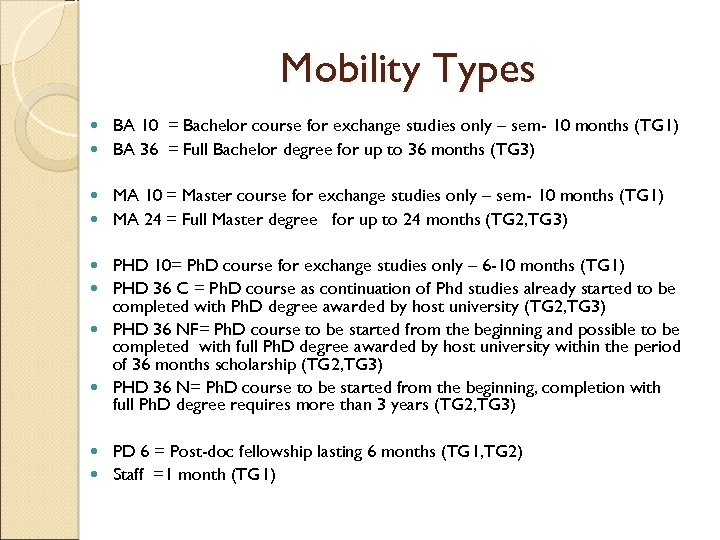 Mobility Types BA 10 = Bachelor course for exchange studies only – sem- 10