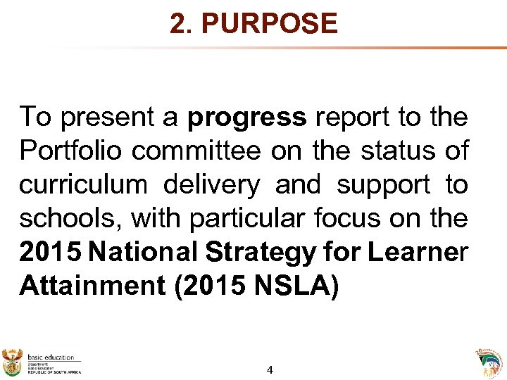 2. PURPOSE To present a progress report to the Portfolio committee on the status