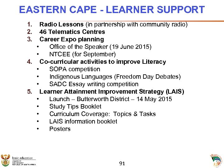 EASTERN CAPE - LEARNER SUPPORT 1. 2. 3. Radio Lessons (in partnership with community