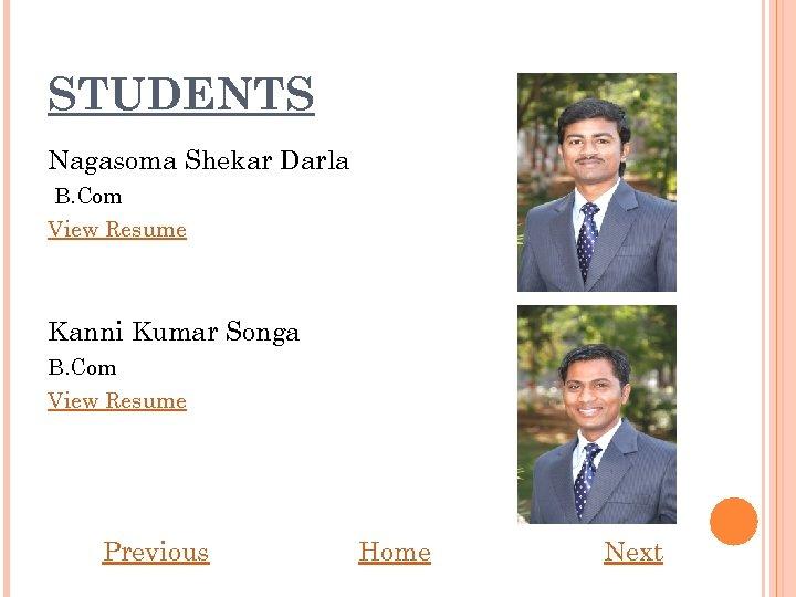 STUDENTS Nagasoma Shekar Darla B. Com View Resume Kanni Kumar Songa B. Com View