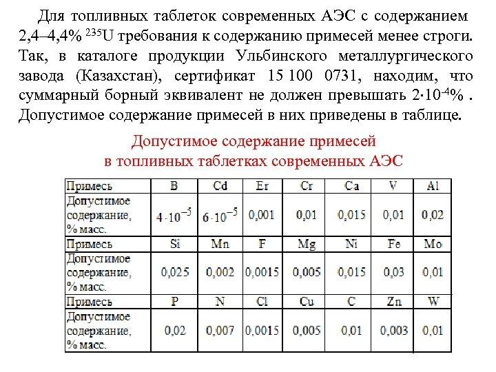 Для топливных таблеток современных АЭС с содержанием 2, 4– 4, 4% 235 U требования