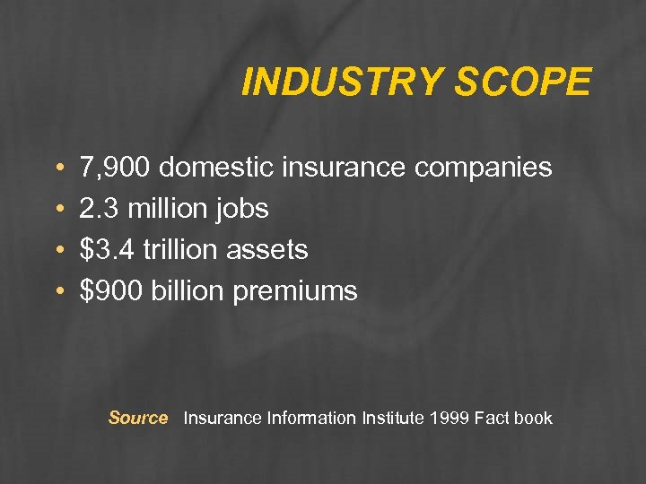 INDUSTRY SCOPE • • 7, 900 domestic insurance companies 2. 3 million jobs $3.