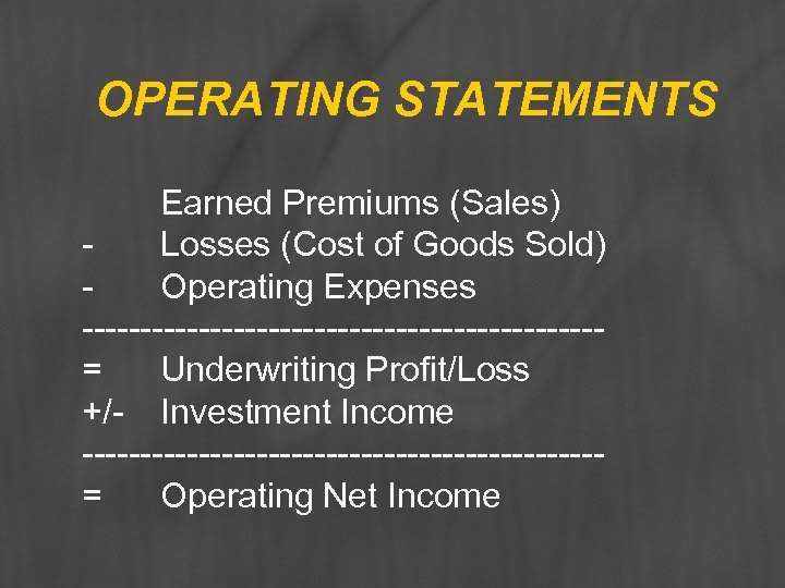 OPERATING STATEMENTS Earned Premiums (Sales) Losses (Cost of Goods Sold) Operating Expenses ----------------------= Underwriting