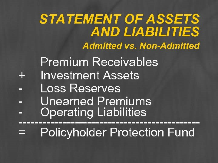 STATEMENT OF ASSETS AND LIABILITIES Admitted vs. Non-Admitted Premium Receivables + Investment Assets -