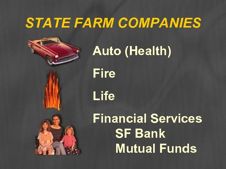 STATE FARM COMPANIES Auto (Health) Fire Life Financial Services SF Bank Mutual Funds