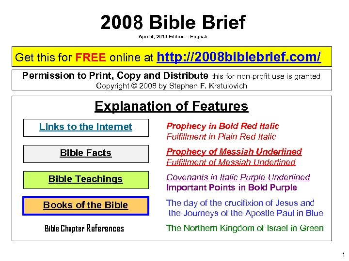 2008 Bible Brief April 4, 2010 Edition – English Get this for FREE online