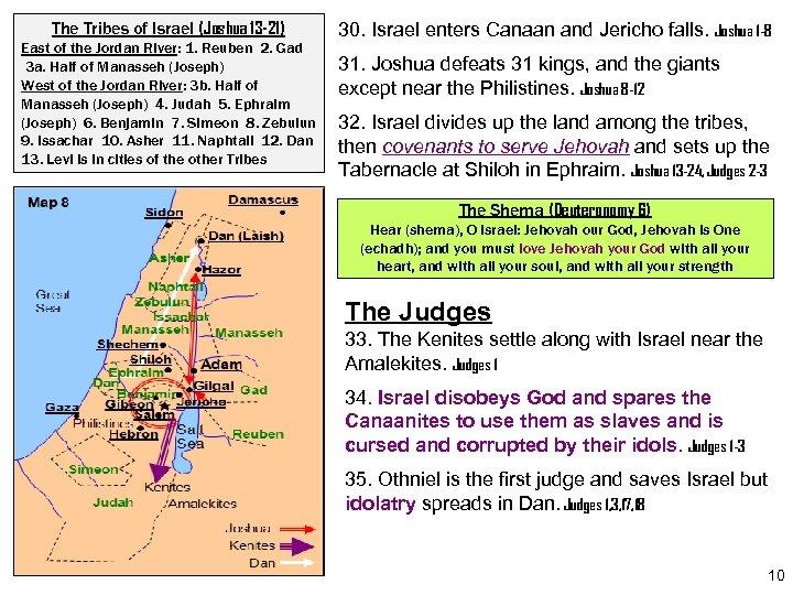 The Tribes of Israel (Joshua 13 -21) East of the Jordan River: 1. Reuben