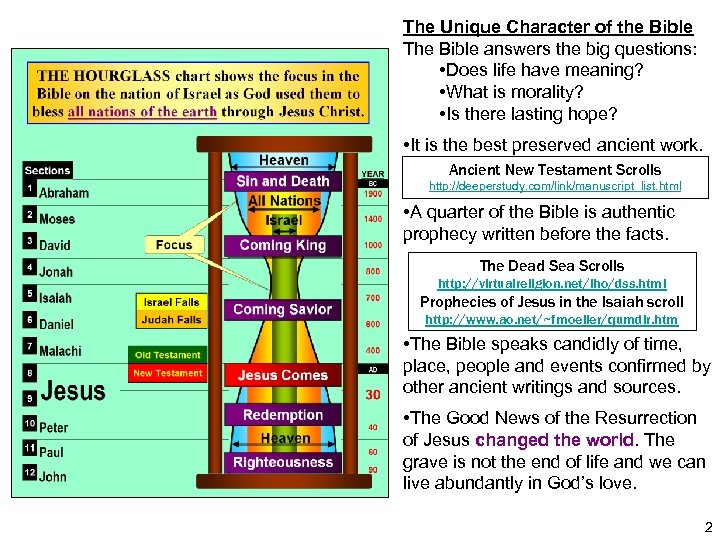 The Unique Character of the Bible The Bible answers the big questions: • Does