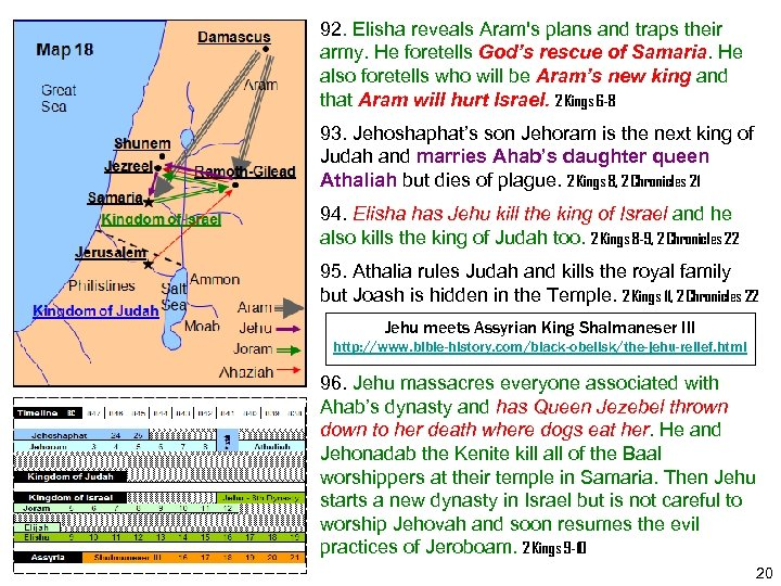 92. Elisha reveals Aram's plans and traps their army. He foretells God's rescue of