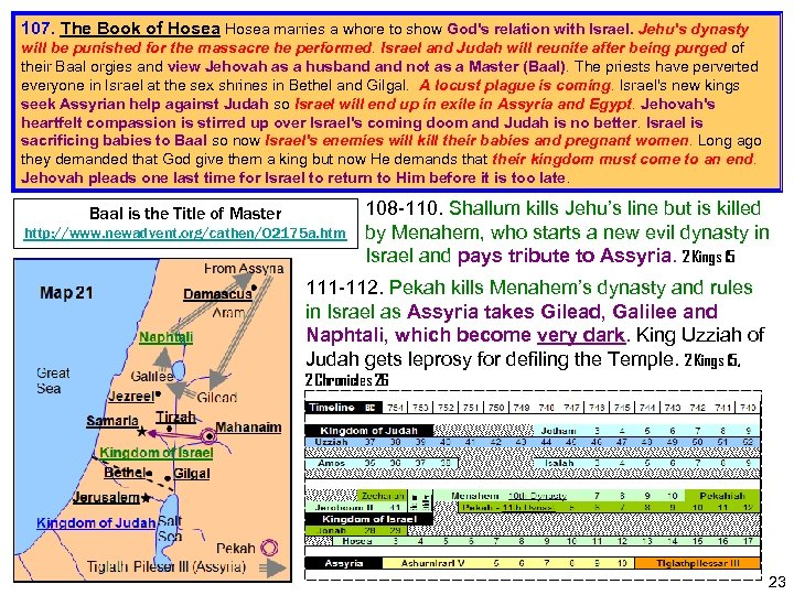 107. The Book of Hosea marries a whore to show God's relation with Israel.