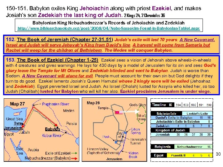 150 -151. Babylon exiles King Jehoiachin along with priest Ezekiel, and makes Josiah's son