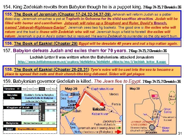 154. King Zedekiah revolts from Babylon though he is a puppet king. 2 Kings