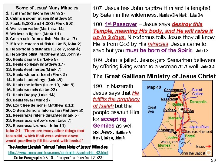 Some of Jesus' Many Miracles 1. Turns water into wine (John 2) 2. Calms