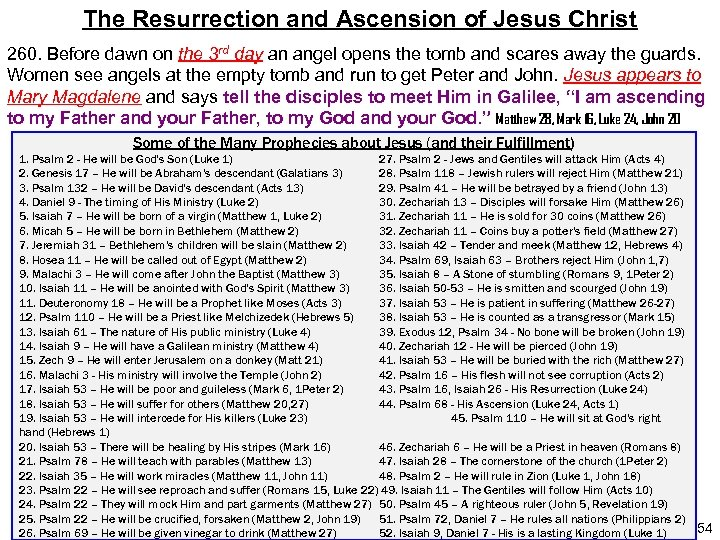 The Resurrection and Ascension of Jesus Christ 260. Before dawn on the 3 rd
