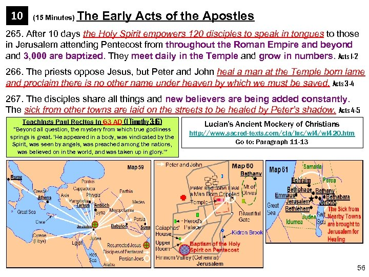 10 (15 Minutes) The Early Acts of the Apostles 265. After 10 days the