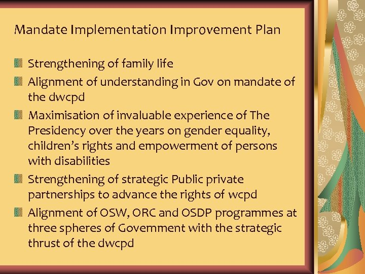 Mandate Implementation Improvement Plan Strengthening of family life Alignment of understanding in Gov on