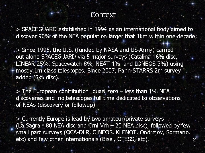 Context > SPACEGUARD established in 1994 as an international body aimed to discover 90%