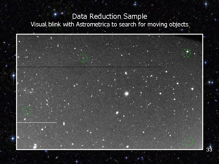 Data Reduction Sample Visual blink with Astrometrica to search for moving objects 33