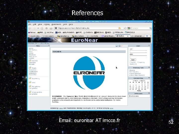 References Email: euronear AT imcce. fr 52