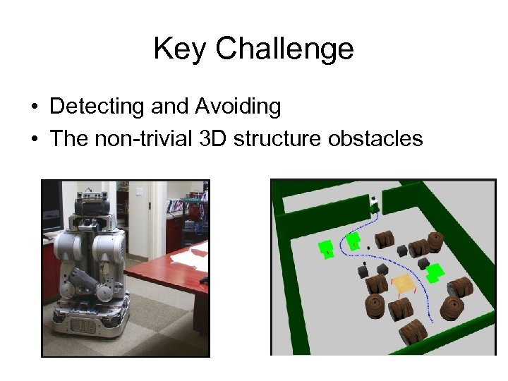 Key Challenge • Detecting and Avoiding • The non-trivial 3 D structure obstacles