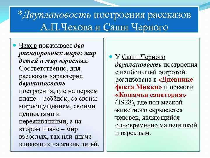 *Двуплановость построения рассказов А. П. Чехова и Саши Черного Чехов показывает два равноправных мира: