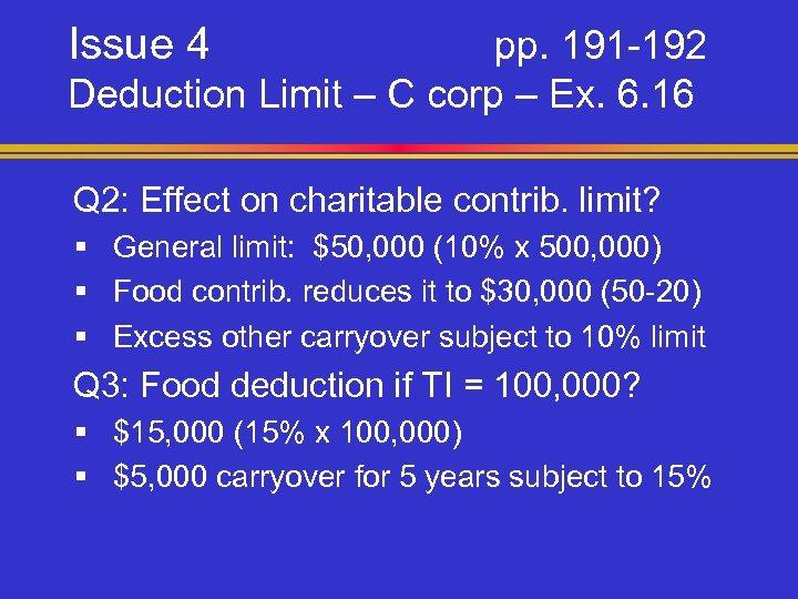Issue 4 pp. 191 -192 Deduction Limit – C corp – Ex. 6. 16