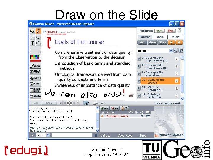 Draw on the Slide Gerhard Navratil Uppsala, June 1 st, 2007