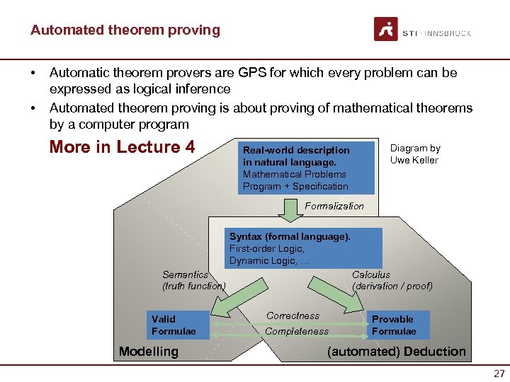 Automated theorem proving • • Automatic theorem provers are GPS for which every problem