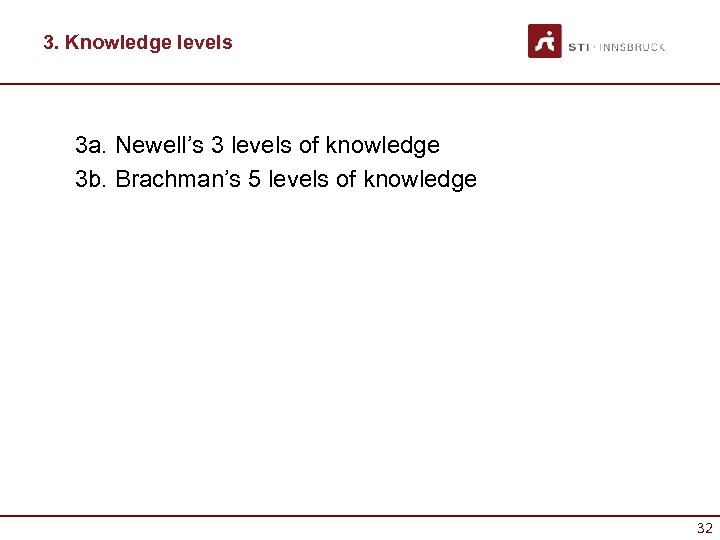 3. Knowledge levels 3 a. Newell's 3 levels of knowledge 3 b. Brachman's 5