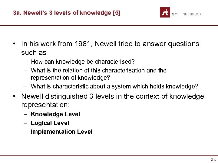 3 a. Newell's 3 levels of knowledge [5] • In his work from 1981,