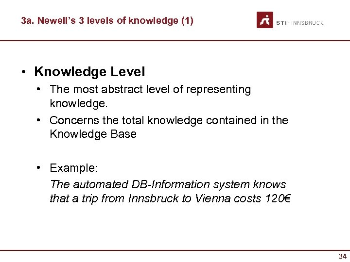 3 a. Newell's 3 levels of knowledge (1) • Knowledge Level • The most