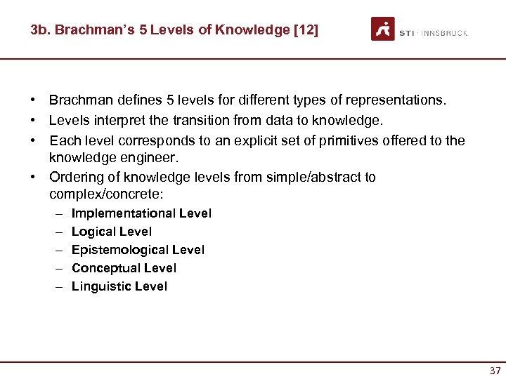 3 b. Brachman's 5 Levels of Knowledge [12] • Brachman defines 5 levels for