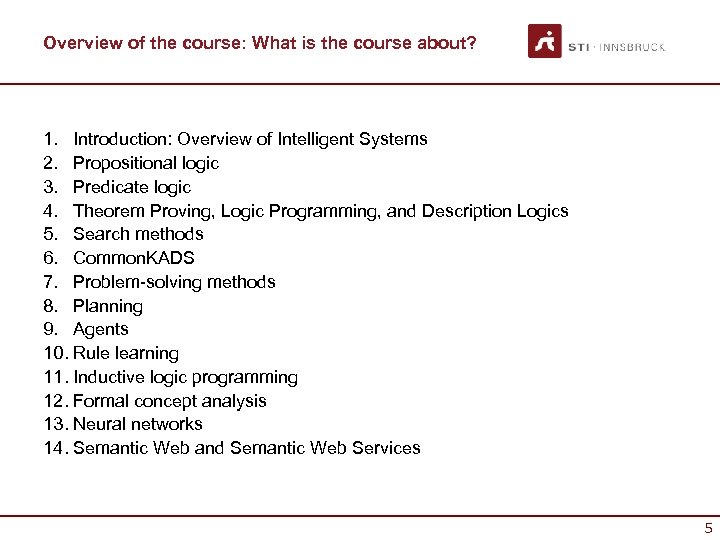 Overview of the course: What is the course about? 1. Introduction: Overview of Intelligent
