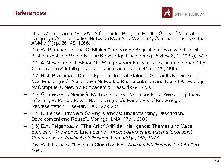 References – [9] J. Weizenbaum.