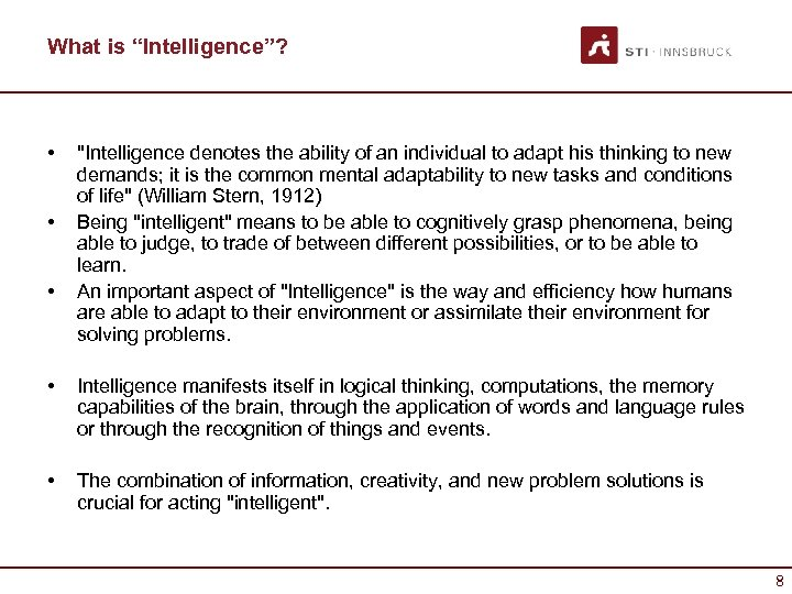"""What is """"Intelligence""""? • • •"""
