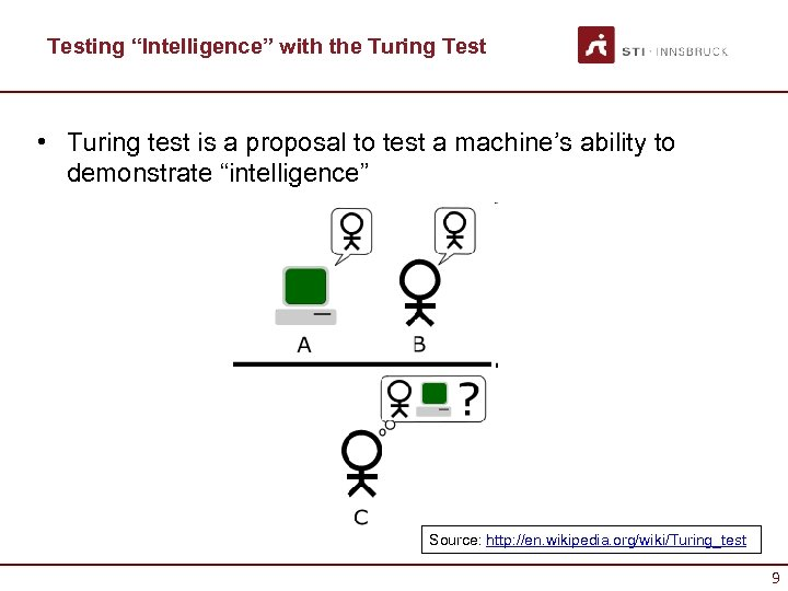 """Testing """"Intelligence"""" with the Turing Test • Turing test is a proposal to test"""