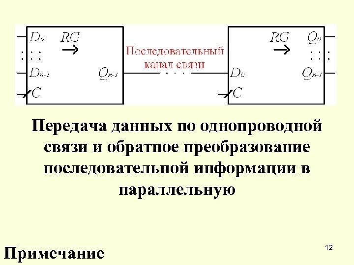 Передача данных по однопроводной связи и обратное преобразование последовательной информации в параллельную Примечание 12