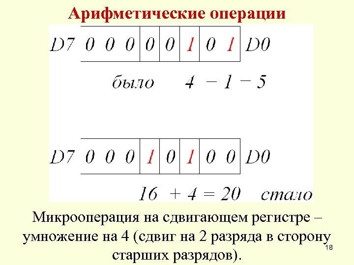 Арифметические операции Микрооперация на сдвигающем регистре – умножение на 4 (сдвиг на 2 разряда