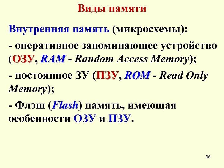 Виды памяти Внутренняя память (микросхемы): - оперативное запоминающее устройство (ОЗУ, RAM - Random Access