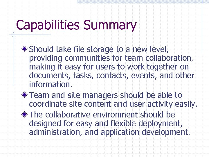 Capabilities Summary Should take file storage to a new level, providing communities for team