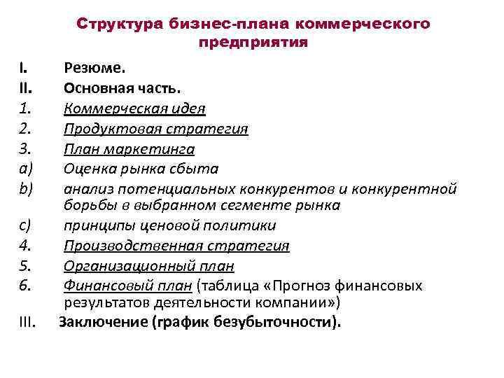 Структура бизнес-плана коммерческого предприятия I. II. 1. 2. 3. a) b) c) 4. 5.