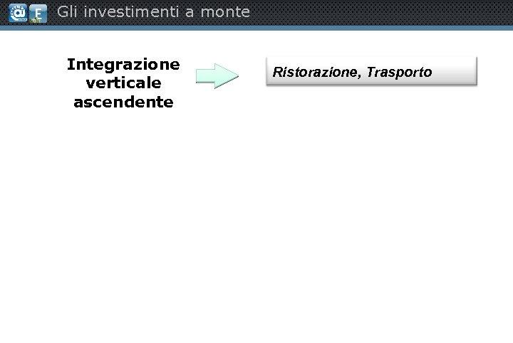 Gli investimenti a monte Integrazione verticale ascendente Ristorazione, Trasporto