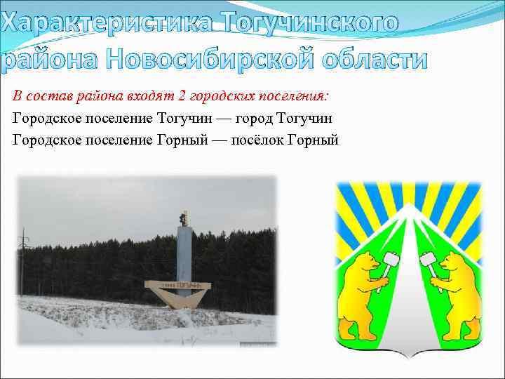 Характеристика Тогучинского района Новосибирской области В состав района входят 2 городских поселения: Городское поселение