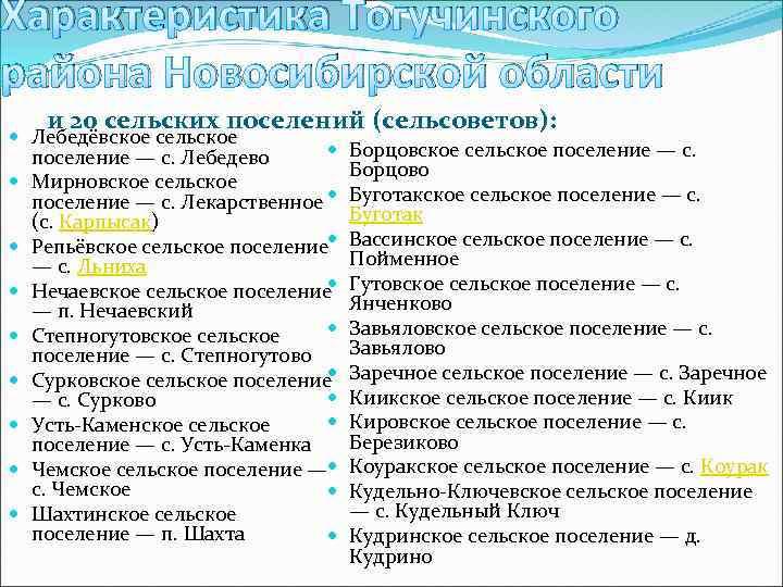 Характеристика Тогучинского района Новосибирской области и 20 сельских поселений (сельсоветов): Лебедёвское сельское поселение —